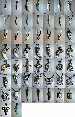 Pendant Necklace tooth skull tribal goth punk rock surfer ladies mens jewellery