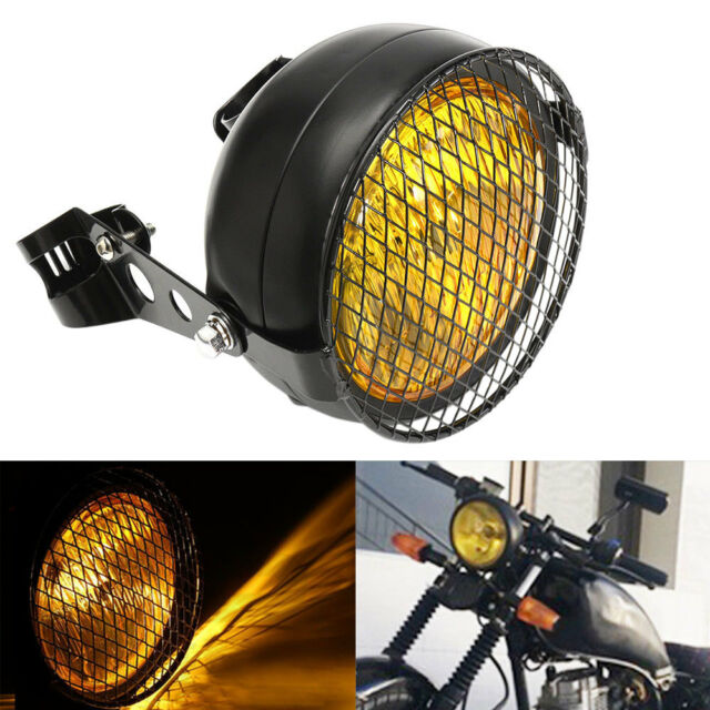 """6.5/"""" Retro Motorcycle Headlight Side For Harley Cafe Racer Grill Guard Black"""