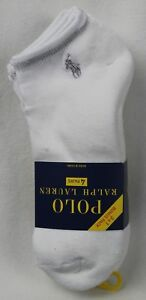 Polo Ralph Lauren 4 Pairs White Ankle Athletic Socks 10-13 NWT