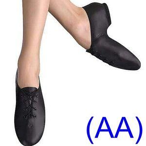 JAZZ-DANCE-SHOES-Black-Leather-split-suede-sole-pumps-unisex-irish-hard-jig-AA
