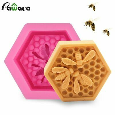 3D Honeycomb Soap Silicone Fondant Mould 6 Holes Honey Bee Handmade Soap Maker Cake Decorating Pudding Cupcake Muffin Candle Baking Tray Mold for Birthday Wedding Halloween Xmas Gift Sugarcraft DIY
