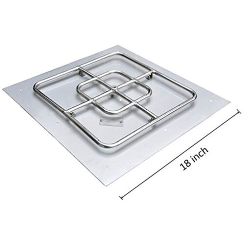 Stainless Steel Square Fire Pit Burner With Pan 18-inch