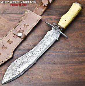 Handmade Damascus Steel Blade Bowie Hunting Knife   WALNUT WOOD