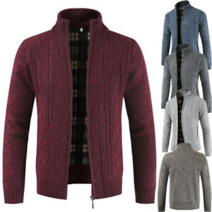 Men-039-s-Casual-Slim-Full-Zip-Thick-Knitted-Cardigan-Sweaters-Jacket-Wine-Red-3XL