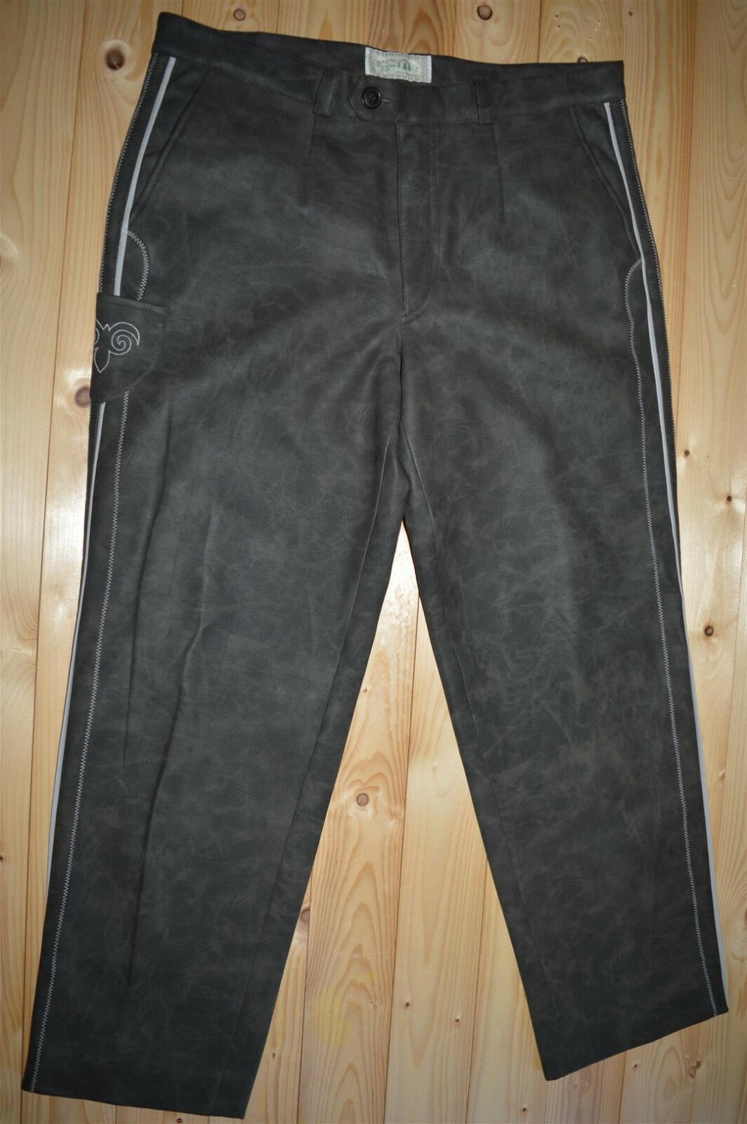 Bavarian Leder Hosen Oktoberfest Faux Leather Pant Trachten Loden men W 34 36