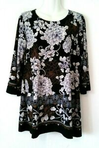 WOMEN-039-S-INVESTMENTS-BLACK-WITH-FLORAL-PRINT-3-4-SLEEVE-STRETCHY-TUNIC-TOP-SIZE-M