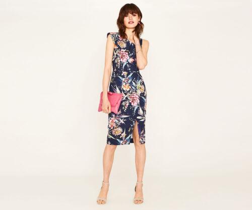 Dress Pink 12 Nouveau Oasis Floral Pencil Tropical Shoulder 1 Midi Blue Sz pxq1wAST