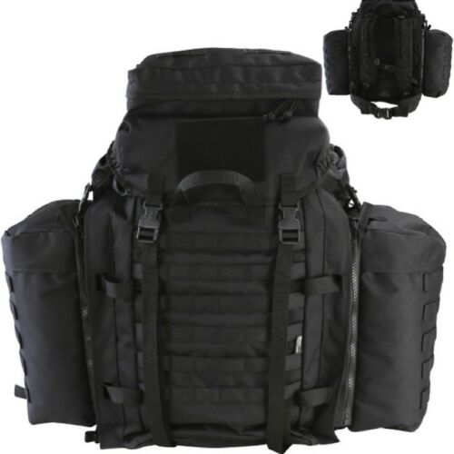 90 LITRE TACTICAL ASSAULT RUCKSACK BLACK MOLLE ARMY BERGEN /& SIDE POUCHES BAG