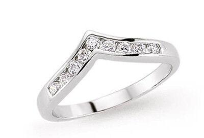 Wishbone Ring Soft Wishbone Sterling Silver Platinum Plated Eternity Wedding