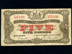 Northern-Ireland-P-127b-5-Pounds-1933-BELFAST-BANKING-COMPANY-RARE-DATE