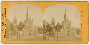 Chiesa st Lawrence Parigi Francia Foto Stereo PL55L5n Vintage Albumina