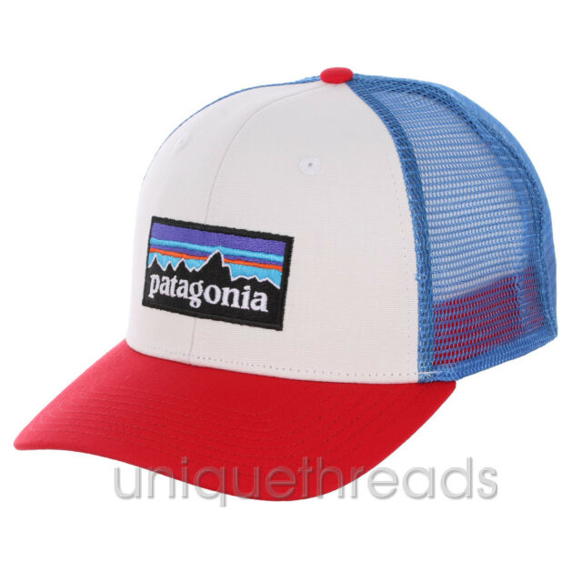 156217425 Patagonia P6 Logo Snapback Trucker Hat in White With Fire/andea Blue