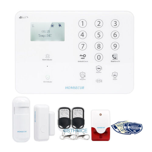 HOMSECUR Wireless/&wired 4G//3G//GSM Home House Alarm System+Multi-Languages Menu