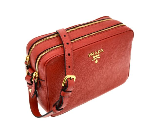 Prada Croossbody Camera Bag Large Double Zip Red Leather For Sale Online Ebay