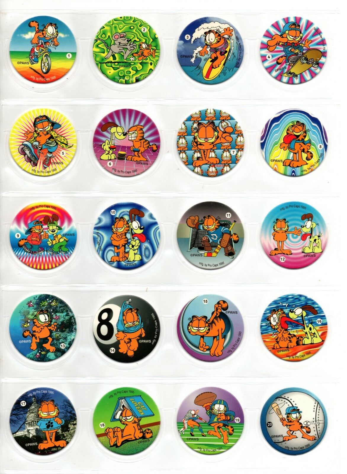 GARFIELD AND FRIENDS Tazos Pogs Complete Toys set of 90 VINTAGE TOY COLLECTION