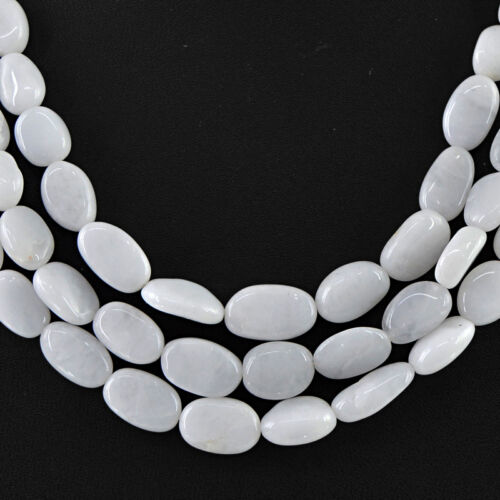 Genuine Amazing 510.00 cts naturel 3 ligne Agate blanche ovale perles collier