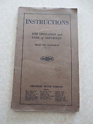 Original 1919 - 1922 Chevrolet Model FB owners manual - Chev