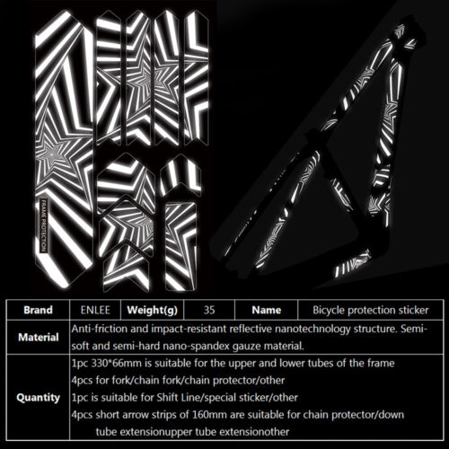 3D Protactive Film MTB Road Bike Stickers Guard Frame//Fork Reflective Stickers
