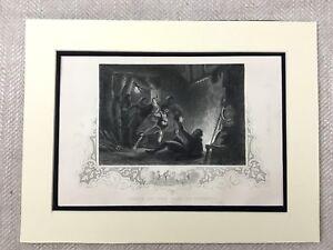 1854 Antico Incisione Stampa Death Di The Conte Desmond Irlandese Storia Irlanda