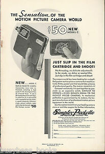 1932 SIMPLEX POCKETTE movie camera advertisement, model C movie camera