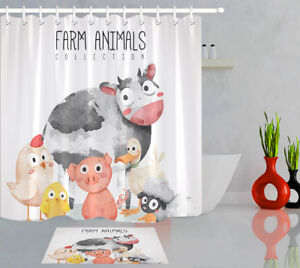 Image Is Loading Bathroom Decor Shower Curtain Liner Cute Animal Farm