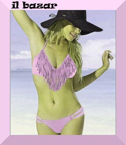 costume bikini frange rosa taglie small,media e large