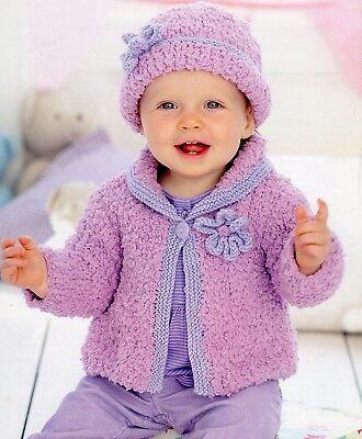 Tejer patrón-Bebé//Niño Niñas Chaqueta y sombrero 6 tamaños de 0 meses - 7yrs PO300