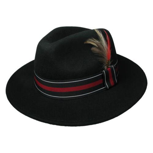 UK New High Quality Black Trilby Hat W//Coloured Strip /& Feather 39004-11