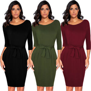 Women-Ruched-Fitted-Belt-Elegant-Work-Office-Business-Casual-Pencil-Sheath-Dress