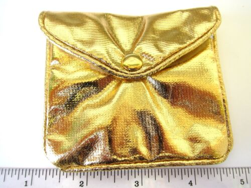 Gold Zip Snap Pouch 3x3.5in A053-02 Jewelry Healing Crystals Party Favor Coin