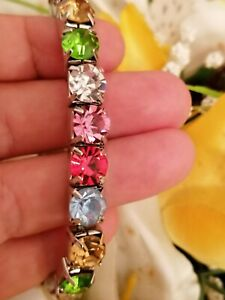 Multi-GEM-Tennis-Bracelet-Rainbow-Colored-Jewelry-Bangle-Gift-SWAROVSKI-HANDMADE