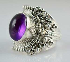 Amethyst-Silver-Ring-925-Solid-Sterling-Silver-Handmade-Classic-Ring-Jewelry