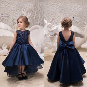 Navy-Blue-Flower-Girl-Dress-Hi-lo-Princess-Sleeveless-Kid-Gown-Size-2-14