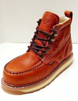 "Mens Bonanza BA612 Light Brown 6/"" Leather Soft Toe Moc Toe Lace Up Work Boot"