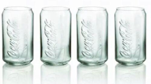 NWT 4 Pack Coke Can Glass Genuine Coca-Cola Clear Drink Cu 12 oz Glasses