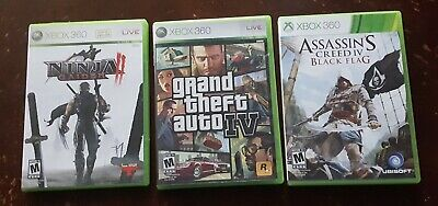 Xbox 360 Games Lot Gta Iv Ninja Gaiden Ii Assasin S Creed Iv Black Flag Ebay