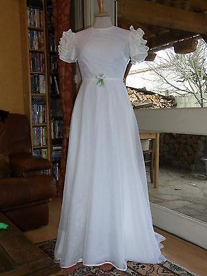 Glorioso Mariage Robe De Mariee T.36 Vintage 60/70 Wedding Dress Size Xs Altamente Lucido