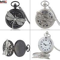 Retro Dragonfly Antique Pocket Watch Necklace Chain Gift Quartz Pendant Punk New
