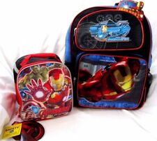"Avengers Iron Man 16"" Backpack + Avengers Iron Man Lunch Bag Lunchbox-New!"