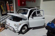 G LGB 1:24 Scala Fiat 500 Welly Pressofuso Molto Dettagliato Modello Bianco 1968