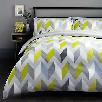 Fusion Grafix Easy Care Reversible Duvet Cover Bedding Set Grey or Multi
