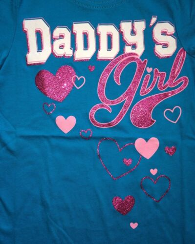 """~NEW~ /""""Daddy/'s Girl/"""" Girls Graphic Shirt 4 4T 5-6 Small 7-8 Med Gift FATHER DAD"""