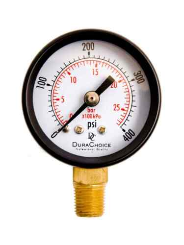 "Black Steel Case 1//4/"" NPT Lower Mount 2/"" Utility Pressure Gauge 0-400PSI"