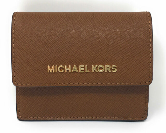 030c28585d15 Michael Kors Leather Jet Set Travel Card case ID Key holder Luggage wallet