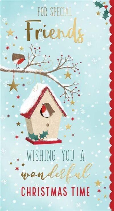 A un amigo especial lujo Feliz Navidad tarjeta de saludos Hoja De Oro Navidad Robin