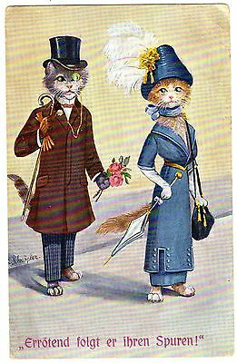POSTCARD CATS DRESSED FASHIONABLE WOOING ARTIST-SIGNED SCHROPLER
