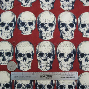 Alexander-Henry-RAD-SKULLS-Red-Cotton-Quilt-Fabric-by-Yard-Skeleton-Day-of-Dead