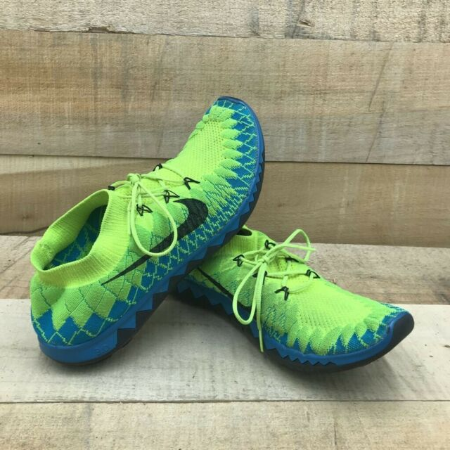 Nike Mens Free Flyknit 3.0 Running Shoes Green 636232-700 Lace Up Low Top 10.5