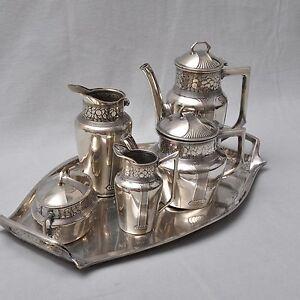 Orivit-Jugendstil-6tlg-Kaffee-und-Tee-Kernstueck-auf-Tablett-RAR-Kaffeeservice