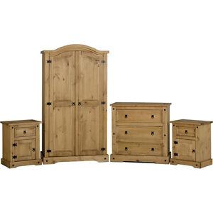 Corona-4pc-Schlafzimmer-Set-Gewachst-Kiefer-Holz-Kleiderschrank-Brust-Nachttisch